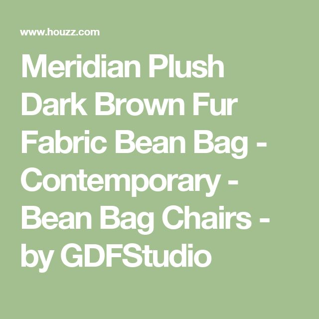 Meridian Plush Dark Brown Fur Fabric Bean Bag - Contemporary - Bean Bag Chairs - by GDFStudio