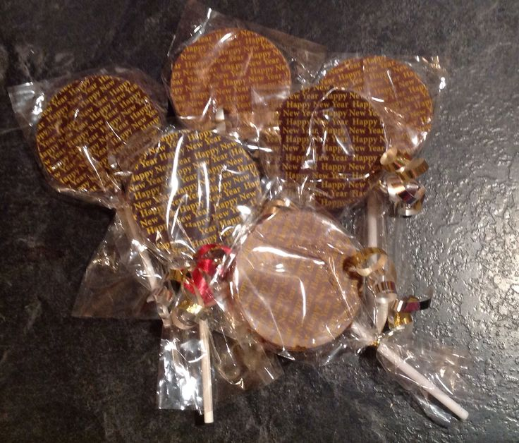 Happy New Year chocolate lollies.  They make them for every occasion.