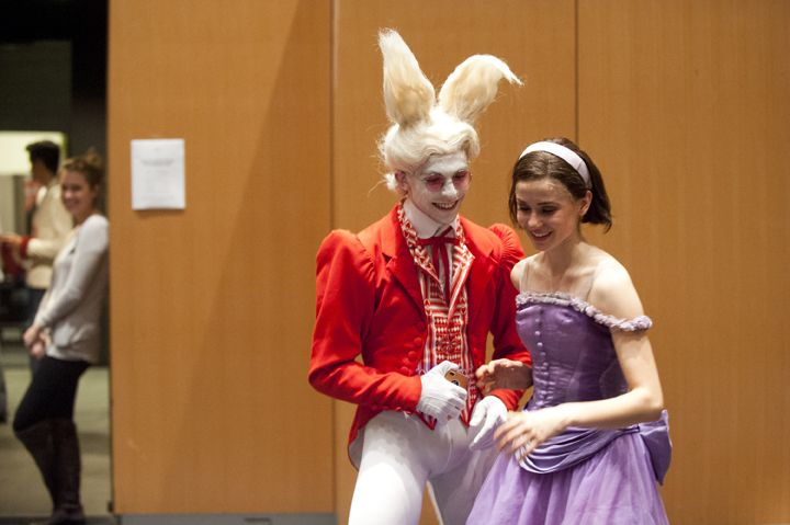 Elena Lobsanova and Dylan Tedaldi share a laugh backstage at Alice's Adventures in Wonderland. Photo by Sian Richards.