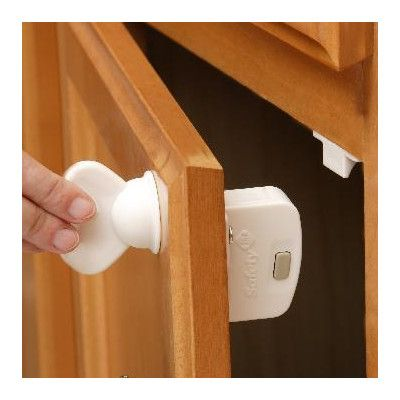 The best safety latches for cabinets. Babies can't get around these! Love this product.