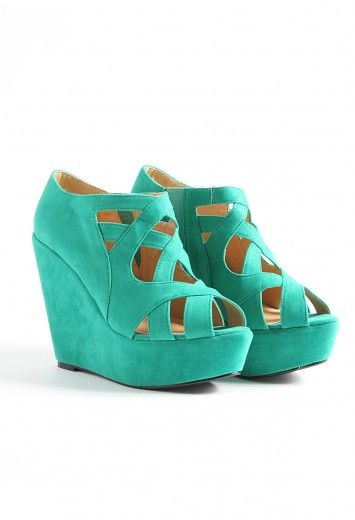 Hailey Strappy Super High Wedge in Green