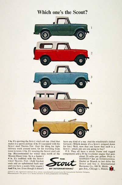 International Harvester Scout, diverse tops... love it