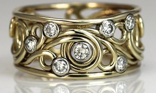 Handmade Gold Swirl Rings by Artist Todd Alan
