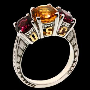 Citrine and Garnet USC 3 Gem Ring — ACC Store