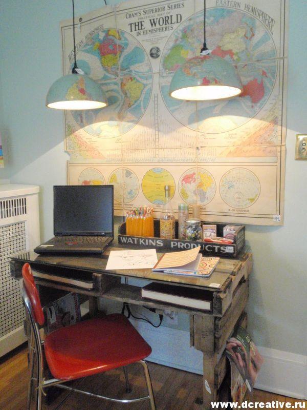 Интересная и экономная идея. Офисные столы, мебель сделанные вручную из деревянных поддонов.