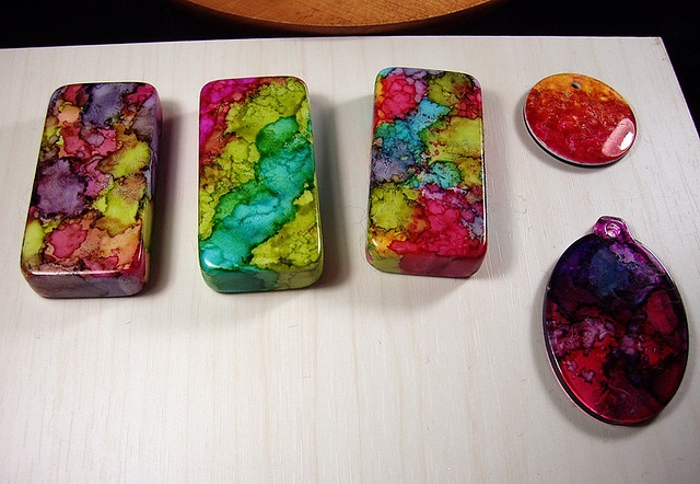 Dominoes & Alcohol Ink by Gayle Bird Designs, via Flickr