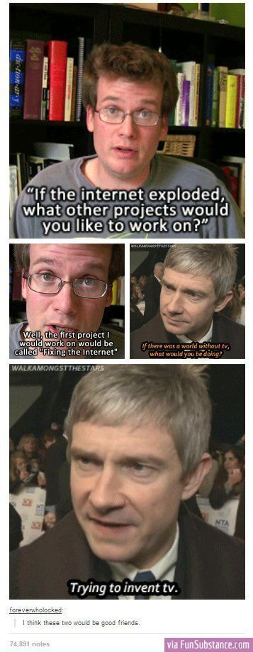 Martin Freeman and John Green, good friends.