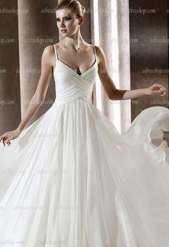 Simple elegant wedding dresses with straps : Spaghetti strap a line simple elegant wedding dress court train