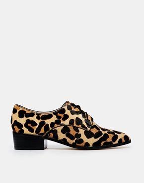 Dune Loris Leopard Pointed Flat Shoes