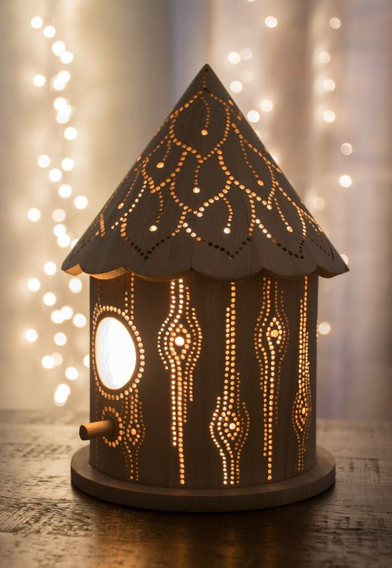 Birdhouse Night Light - Woodland Nursery Nightlight - Baby / Kid's Room Lamp by LightingBySara