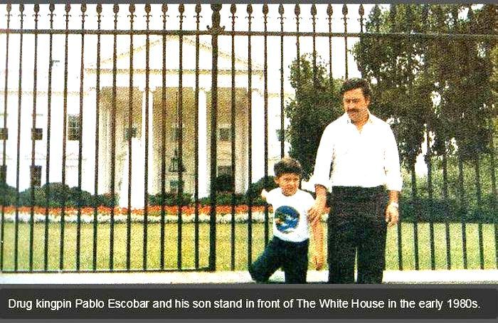 Drug Kingpin Pablo Escobar and his Son in front of The White House