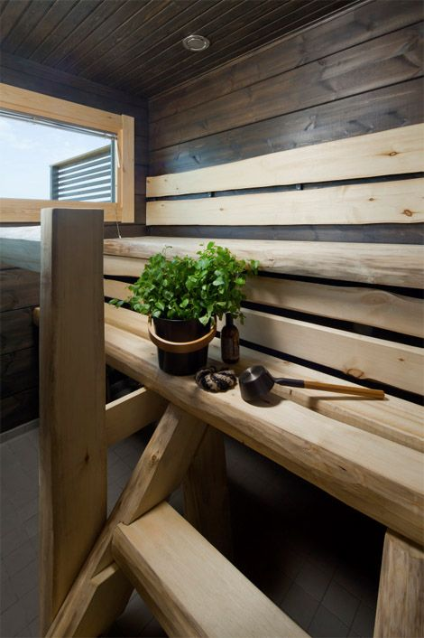 Dark toned sauna