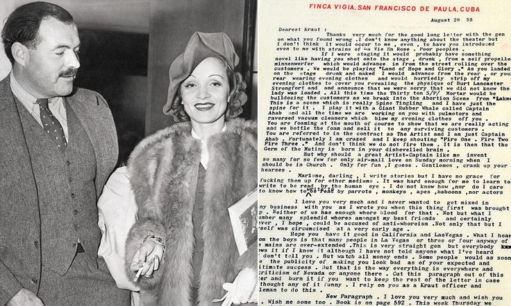 Ernest Hemingway's racy letter to Marlene Dietrich goes up for auction