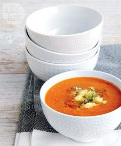 Roasted red pepper and tomato soup {Photography by Edward Pond}