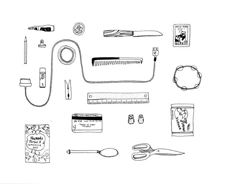 Collection of hand drawn illustrations of everyday objects