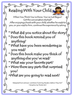 Reading with your child- parent support PUT IN BOBCAR BINDER