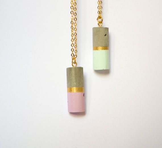 CONCRETE CYLINDER NECKLACE WITH A TOUCH OF LILAC AND MINT GREEN COLOR BY GRAVEL&DUST