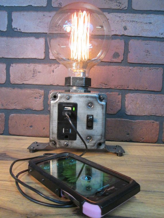 Industrial Charging Station USB Port Desk Lamp by VintageIronworks