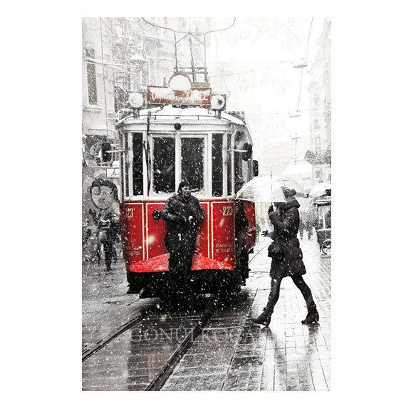 Tram photographwinter photographsnowphotographyartwall by gonulk, $50.00