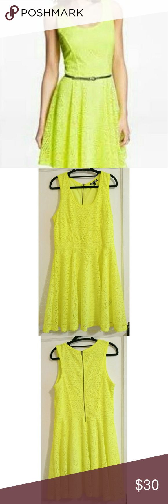 Express Neon Lace Fit N Flare Dress Flattering and fun neon dress. The lighting doesn't fully capture the color, but it is a vibrant NEON yellow. Lace/crochet-style overlay. Back zipper. In good pre-loved condition Express Dresses