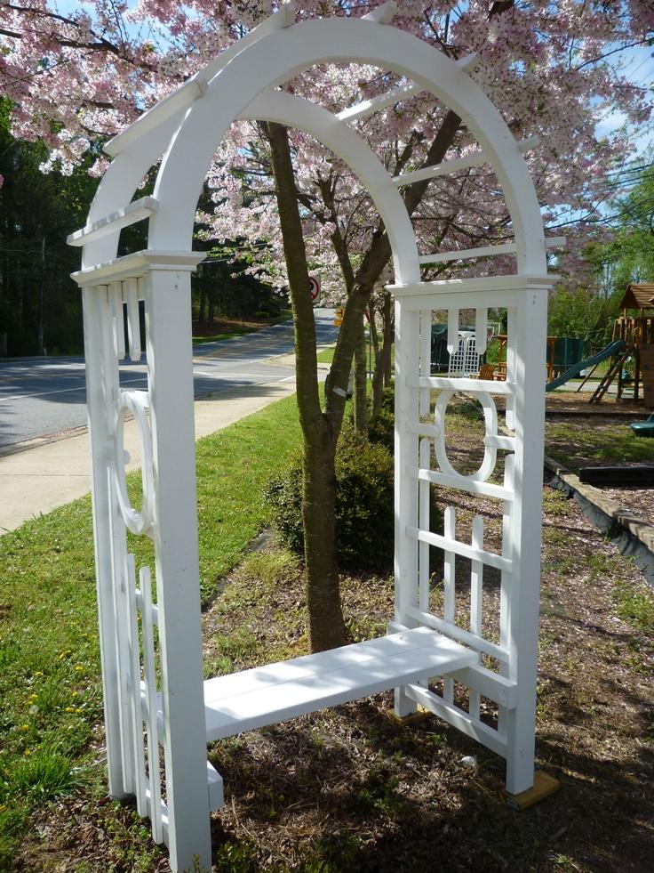 White Arbor With Bench Gardening Pinterest