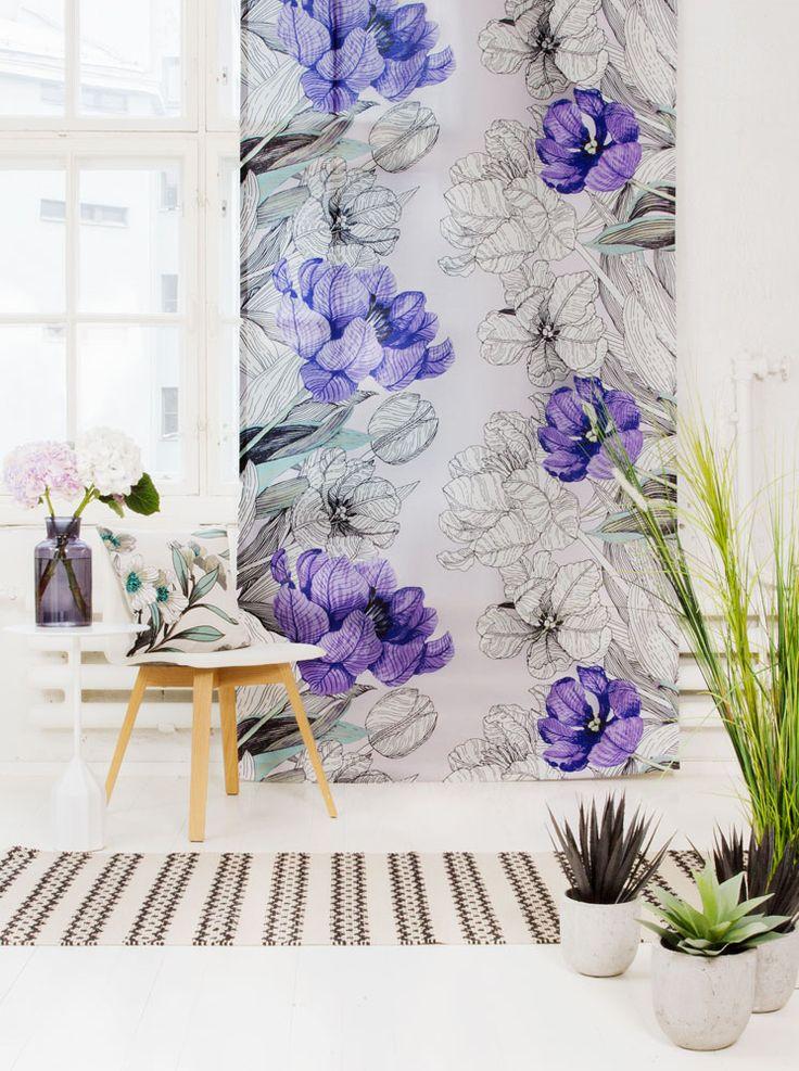 Vallila Interior AW14 collection, Jardin curtain & Oleanteri cushion