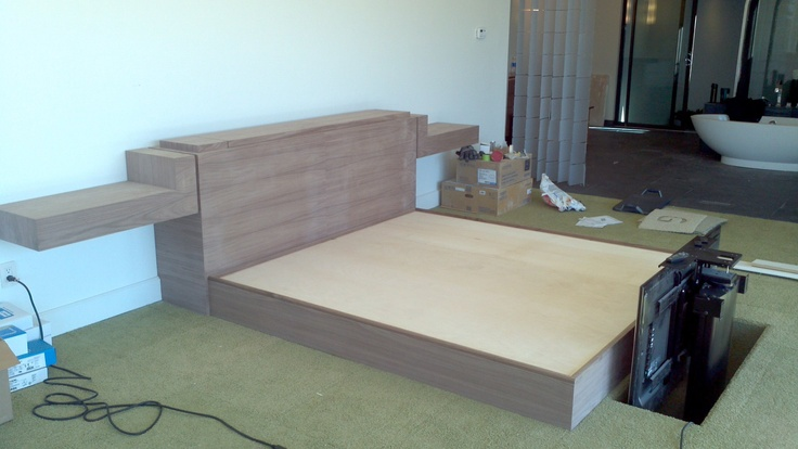 Black Walnut Bed With Tv Lift Built Into The Footboard