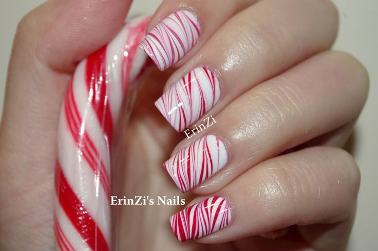 Candy Cane Water Marble tutorial