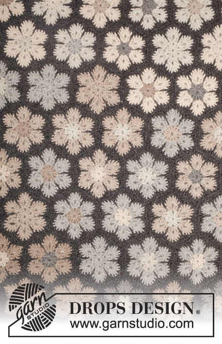"""Midnight Flurries / DROPS 173-24 - Crochet DROPS blanket with hexagons in """"Nepal"""". - Free pattern by DROPS Design"""