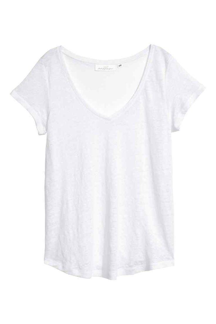 Lniany top w serek - Biały - ONA | H&M PL