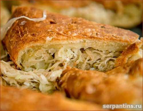 Пирог с капустой и грибами из быстрого холодного теста