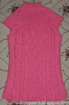 My Fancywork Blog: Детский ярко-розовый сарафан с аранскими узорами.