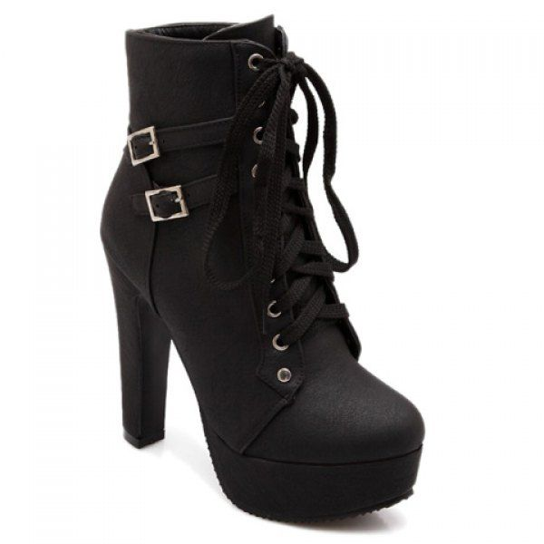 $32.38 Concise Buckles and Pure Color Design Women's High Heel Boots