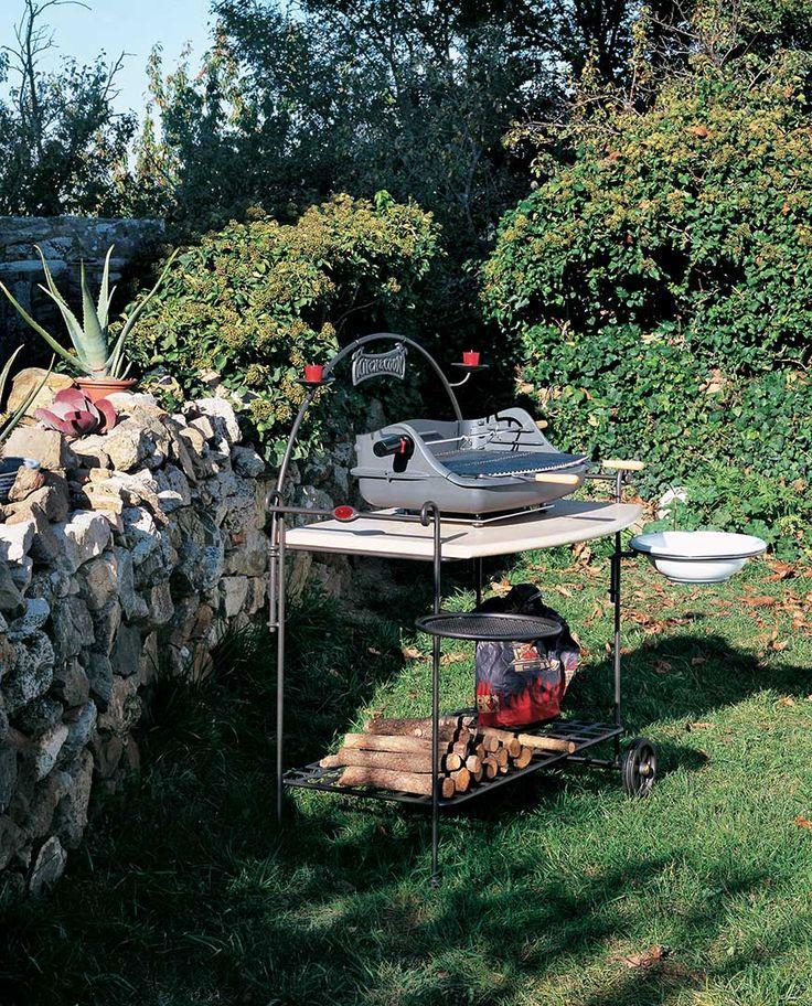 Barbeque Sirio (art.238) cm 115x65h bacinella  •  Piano in Travertino invecchiato cm 99x65