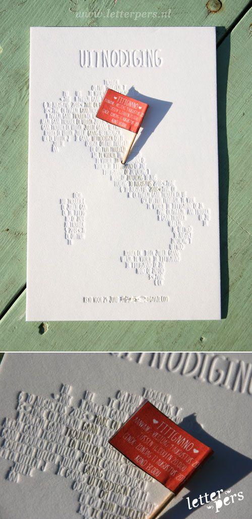 letterpers_letterpress_trouwkaart_Marc--en-Marijn_blinddruk_Italie_vlaggetje
