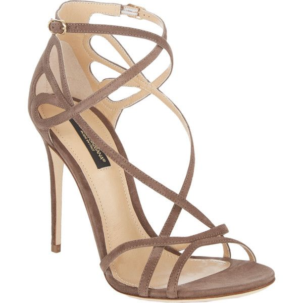 Dolce & Gabbana Cutout Crisscross-Straps Keira Sandals ($399) ❤ liked on Polyvore featuring shoes, sandals, heels, sapatos, high heels, brown, double buckle sandals, ankle strap heel sandals, ankle wrap sandals and two buckle sandals