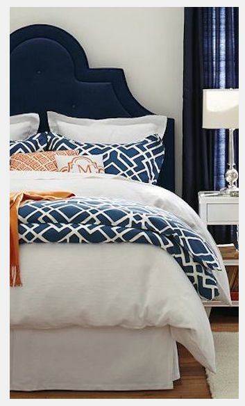 Navy bedding Pottery Barn- Living With Color Designs