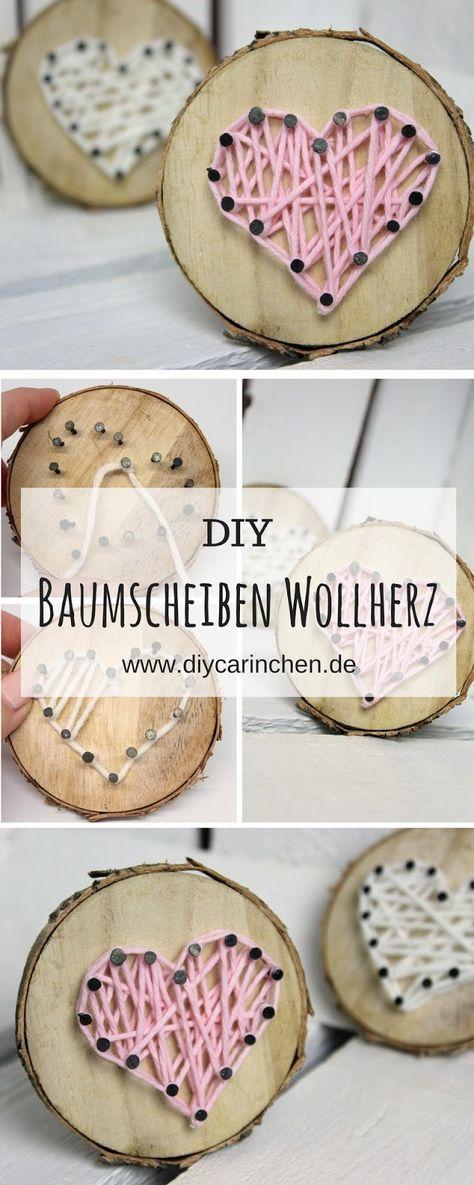 DIY süßes Geschenk zum Valentinstag, Muttertag oder als Deko: Baumscheibe mit Herz in String Art ♡