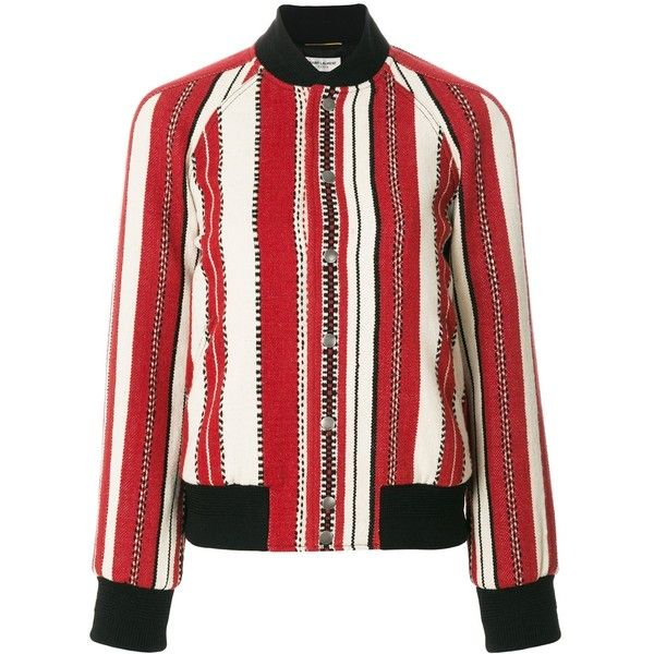 Saint Laurent Berber Bomber Jacket (171.305 RUB) ❤ liked on Polyvore featuring outerwear, jackets, clothing /, kirna zabete, striped jacket, white bomber jacket, striped bomber jacket, zip front bomber jacket and bomber style jacket