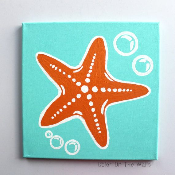 Starfish Painting On Blue Canvas