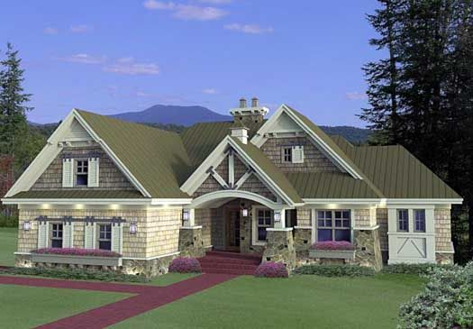 Bungalow Style House Plans - 1971 Square Foot Home, 1 Story, 3 Bedroom and 2 3 Bath, 2 Garage Stalls by Monster House Plans - Plan 38-510