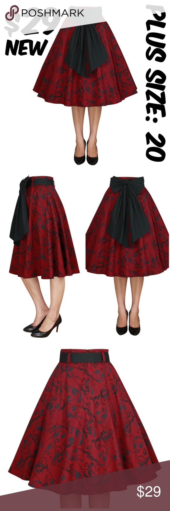 """Bow Plus Size Pin Up Full Circle Skirt 1950s Cloth Bow Plus Size Pin Up Full Circle Skirt 1950s Clothing WAIST: 40"""" LENGTH: 30"""" CONDITION: NEW TAG SIZE IS 20 #CS Skirts A-Line or Full"""
