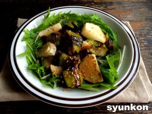 【簡単!!副菜】ナスと長芋のゴマめんつゆと、『レシピブログで人気のフライパン1つで作るおかず』|山本ゆりオフィシャルブログ「含み笑いのカフェごはん『syunkon』」Powered by Ameba