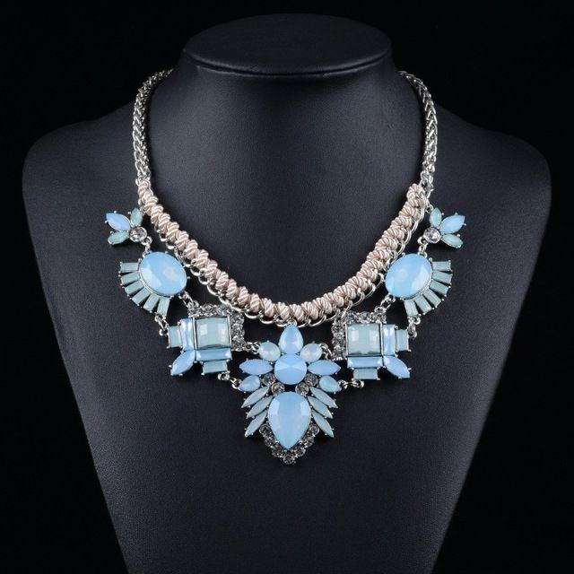 2015 yeni tasarımcı ilham gümüş zincir halat bebek mavi elmas deyimi kolye gerdanlık yaka kolye bib takı n0171