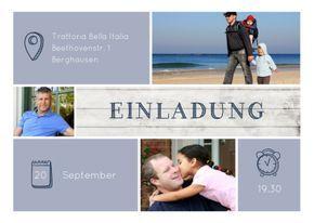 Modern gestaltete Einladungskarte in Blautönen mit Holz und Platz für drei Fotos. Nur Fotos und Text einsetzen! #EinladungGeburtstag.de