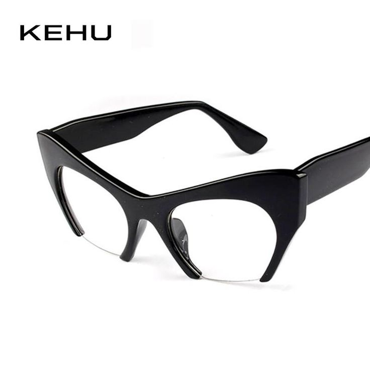 New Women Semi-Rimless Goggles Anti Fatigue Radiation resistant Cat Eye Glasses vintage