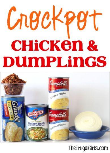 Crockpot Chicken and Dumplings Recipe at TheFrugalGirls.com