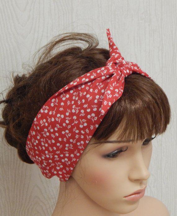 Womens Headband Retro Summer Head Accessories Women Headscarf Cotton Tie Up Headband Red and White Self Tie Bandana