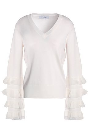 Derek Lam 10 Crosby Woman Flared Ruffle-trimmed Wool-blend Sweater Ivory Size M Derek Lam Outlet Store Cheap Price tCx0Wpb