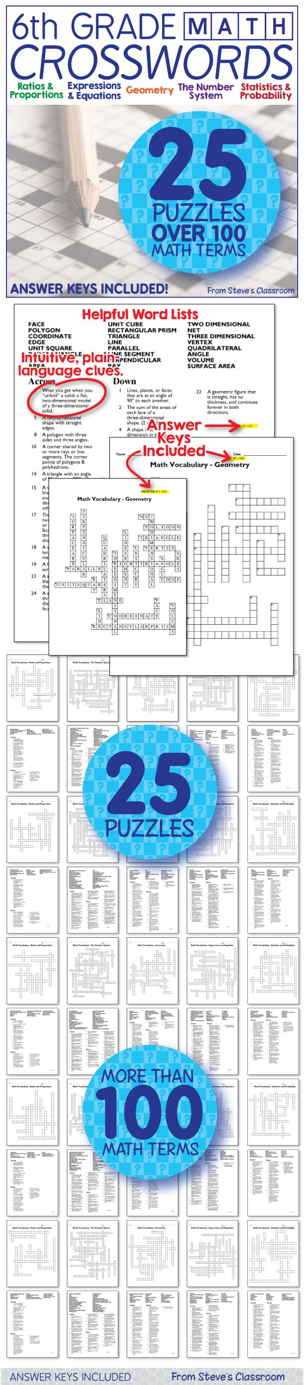 6th grade math vocabulary crossword puzzles! New Product! These sixth grade math crossword puzzles are half off until Sunday Oct. 18!